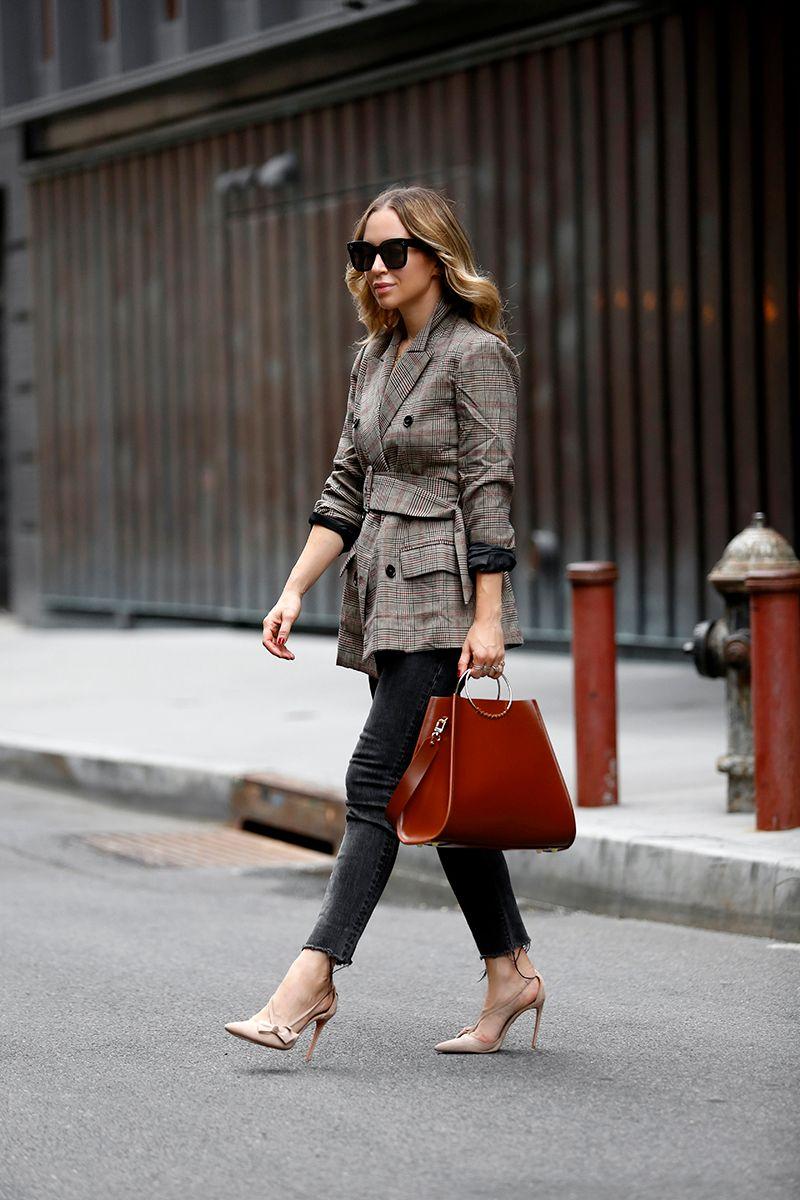 Work Wear, Belted Blazer, ASTR the Label Emerson Plaid Blazer, Fall Outfit, Helena of Brooklyn Blonde