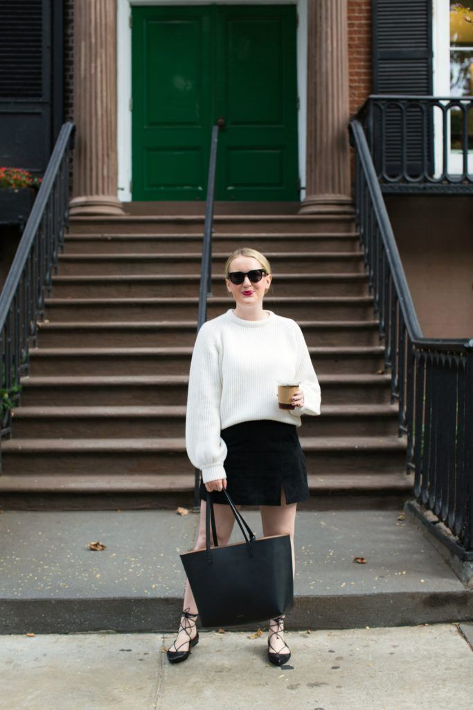 Meghan Donovan of wit & whimsy wears a Demylee Sweater + Suede Skirt