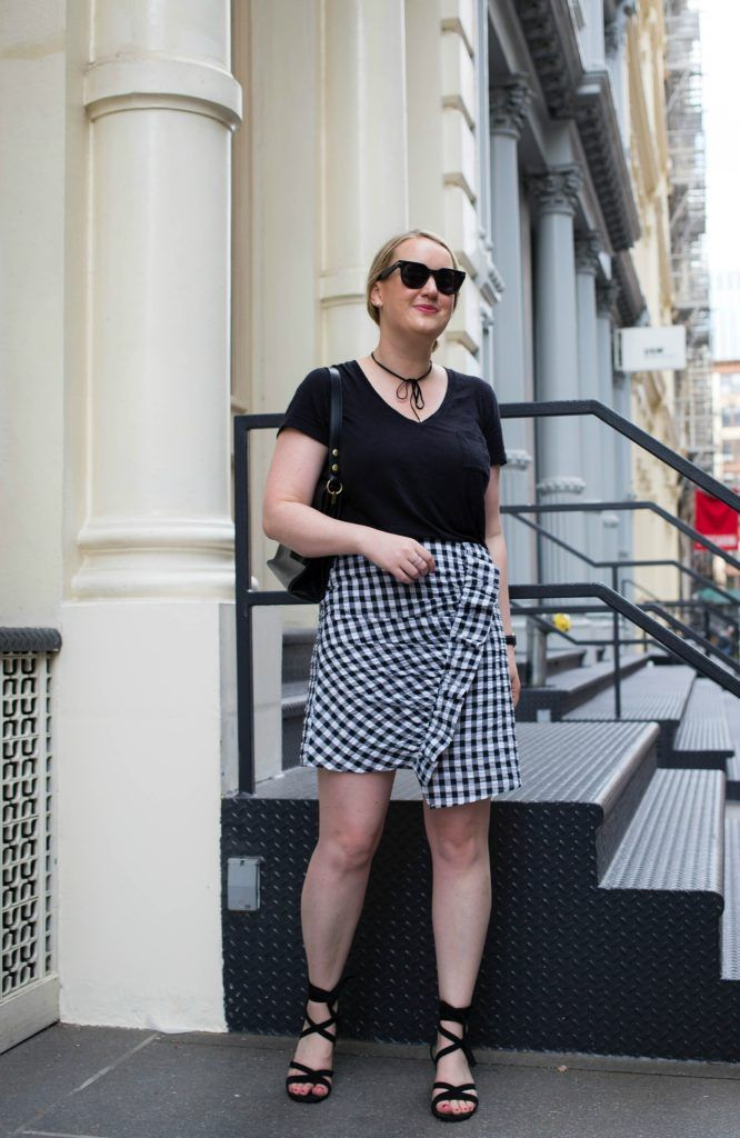 Meghan Donovan of wit & whimsy styles a gingham skirt