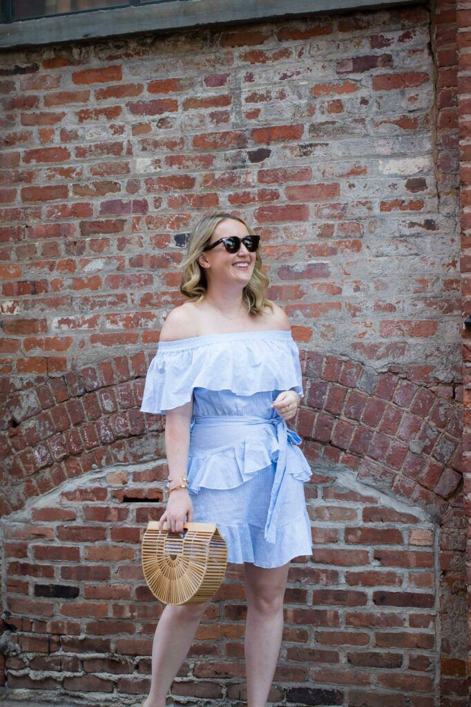 Meghan Donovan of wit & whimsy wears a Topshop Bardot Dress from Nordstrom