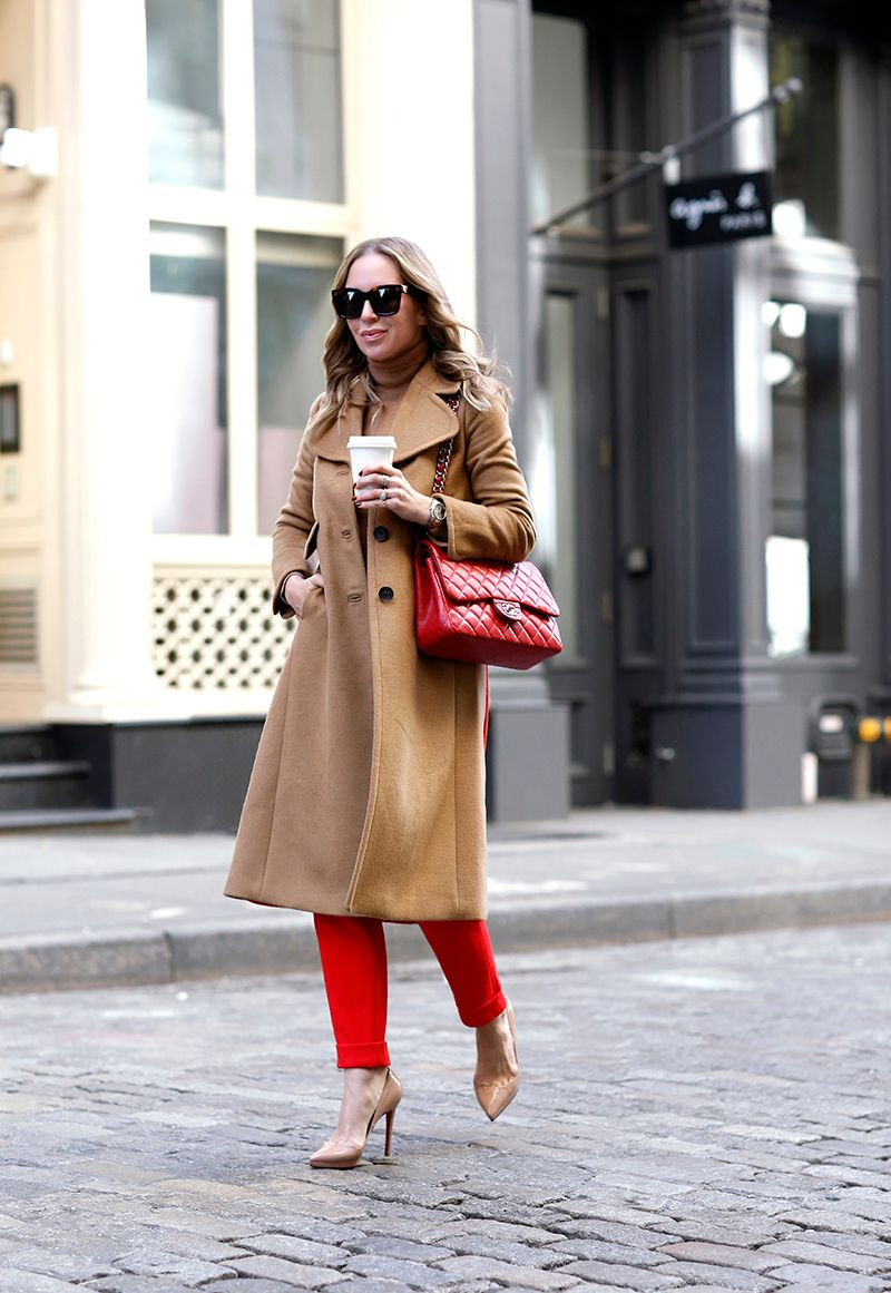 Camel and Red, Red Chanel Caviar Maxi, Helena Glazer of Brooklyn Blonde