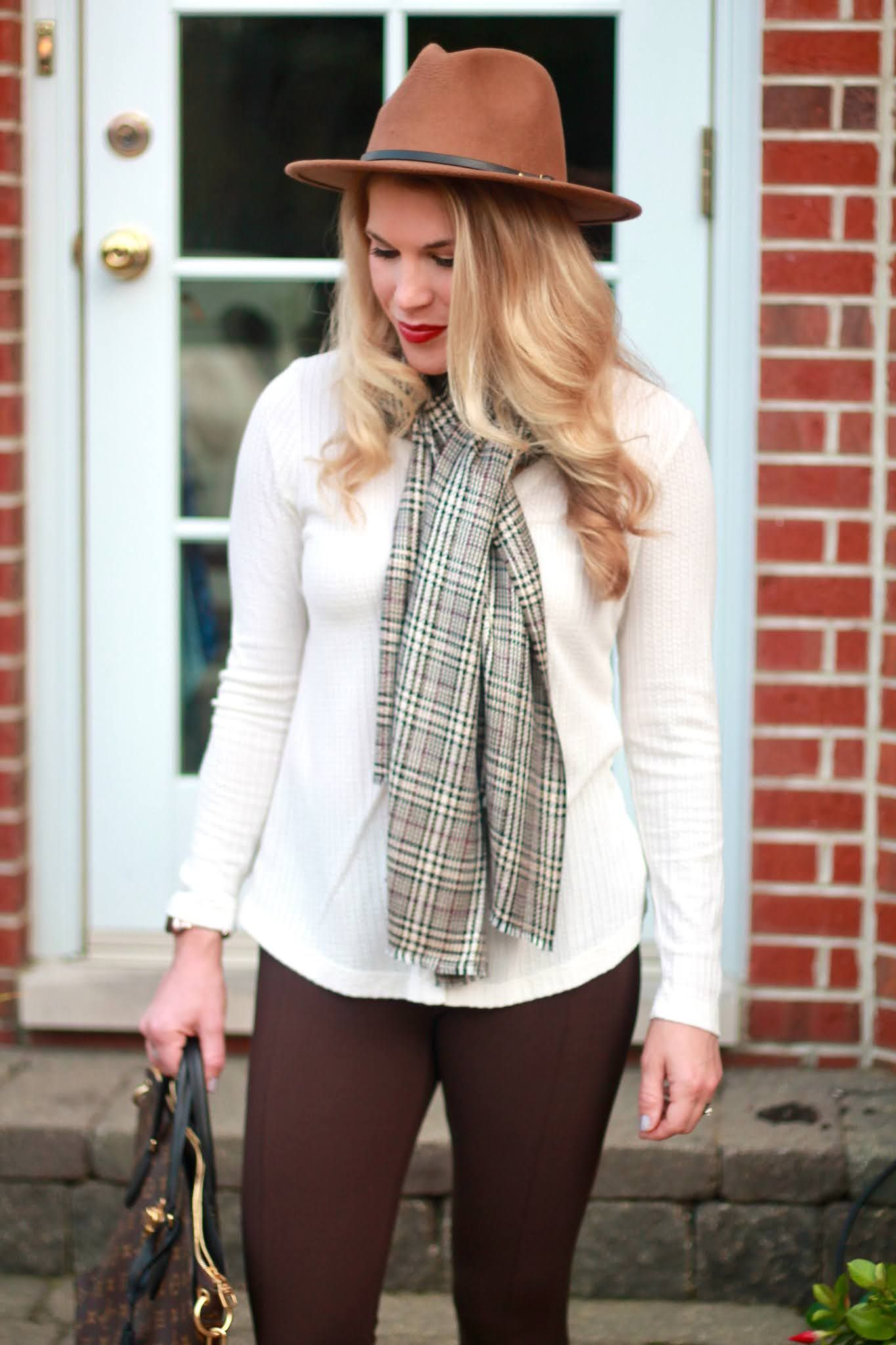 brown leggings, casual fall outfit, white henley, aventura fall, brown plaid scarf,