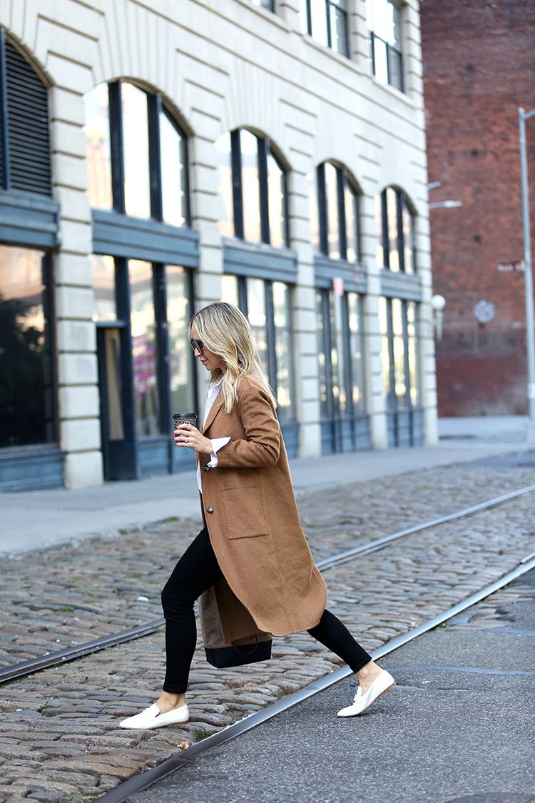 Fall Outfit Inspiration, Camel Coat, White Loafers, Helena of Brooklyn Blonde