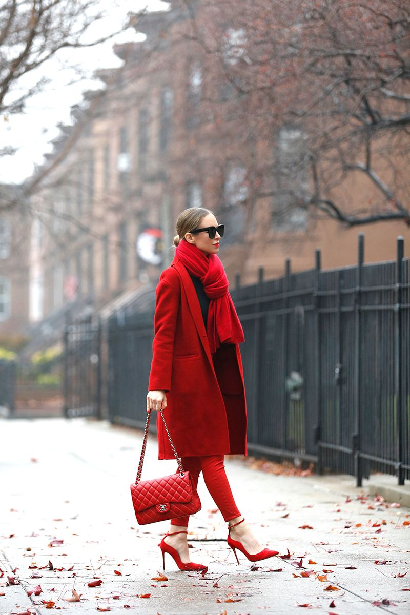 Red Monochromatic Outfit, Winter Style, Helena of Brooklyn Blonde