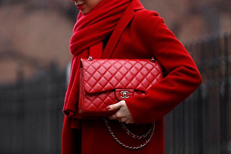 Chanel Red Jumbo Caviar Bag, Helena of Brooklyn Blonde