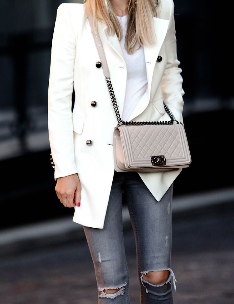 Chanel Boy Bag, Off-White, Helena of Brooklyn Blonde