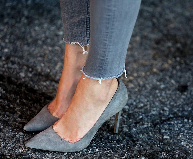 Manolo Blahnik Suede Heels, Grey, Helena of Brooklyn Blonde