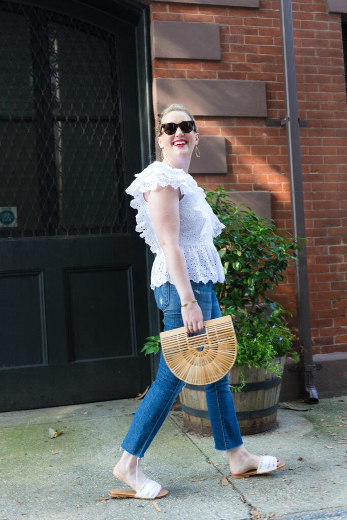 Meghan Donovan of wit & whimsy wears eyelet and Mother Denim