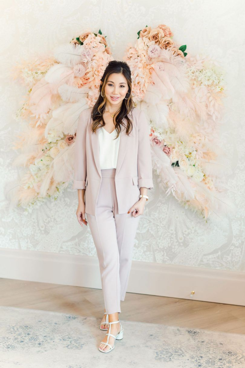 Toronto lifestyle blogger YesMissy wears a pink suit from Evernew at the Fancy Face Rosé Room Anniversary Event.