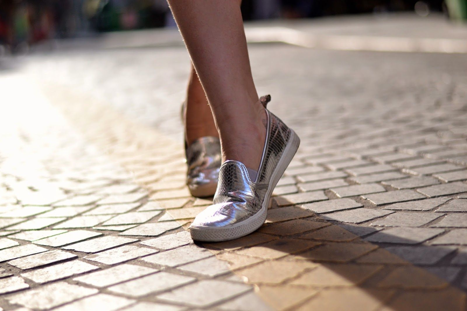Silver slip ons
