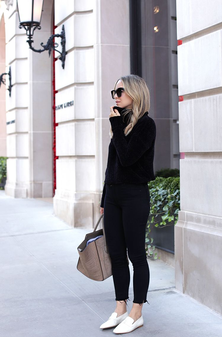 Fall Style: How to Style White Loafers. All black outfit with white loafers | Helena Glazer of Brooklyn Blonde