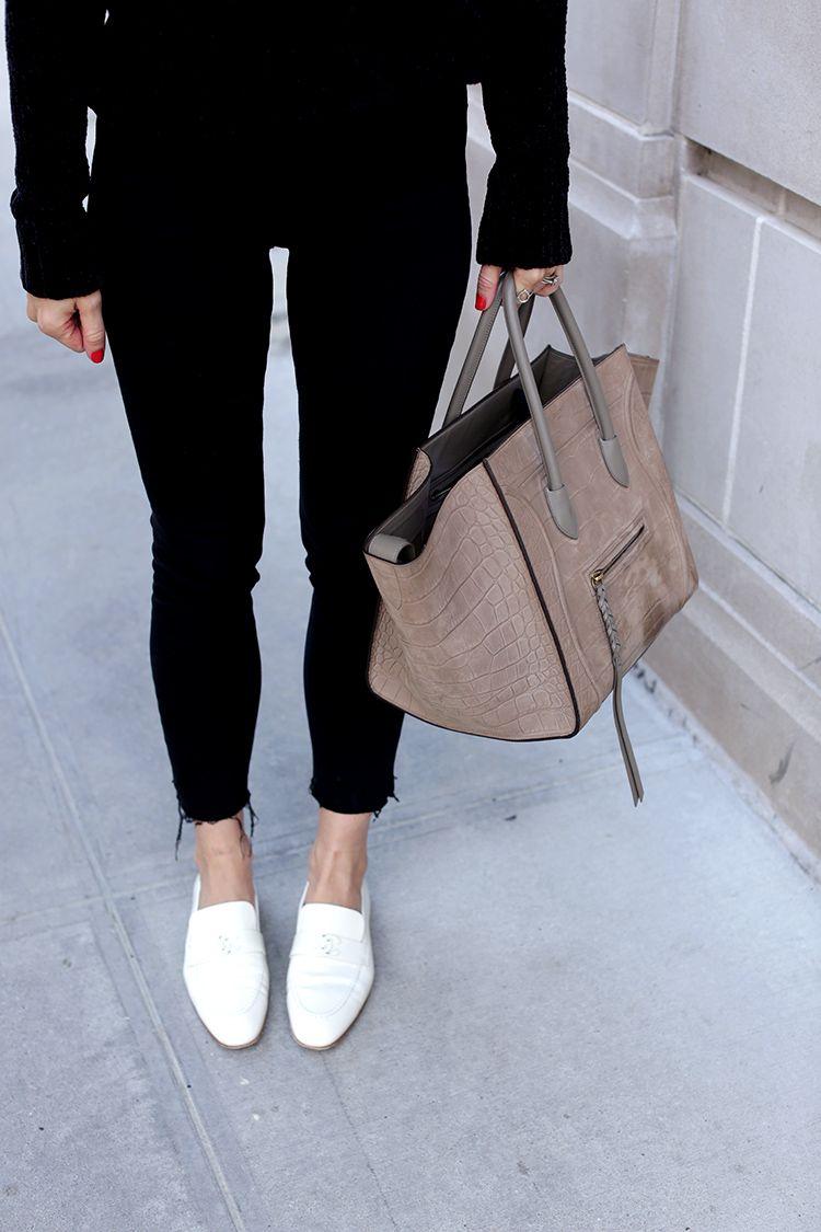 White Chanel Loafers and Celine Phantom Bag | Helena Glazer of Brooklyn Blonde