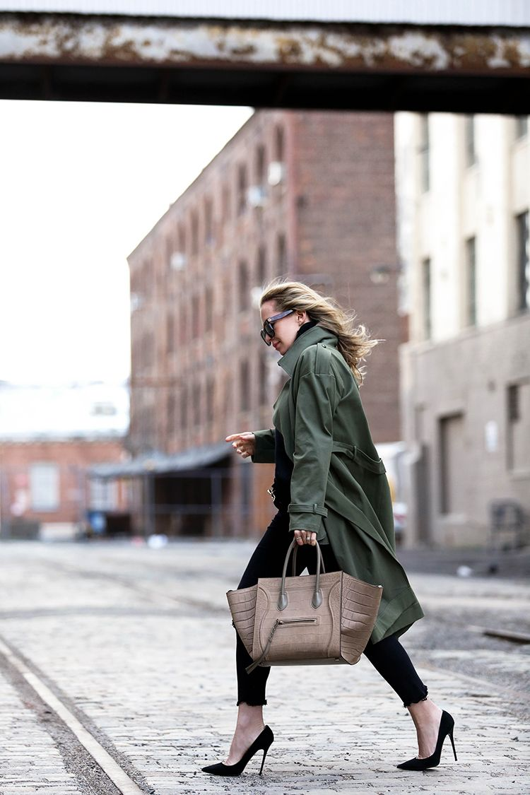 Marissa Webb Olive Trench Overcoat and Celine Phantom Bag
