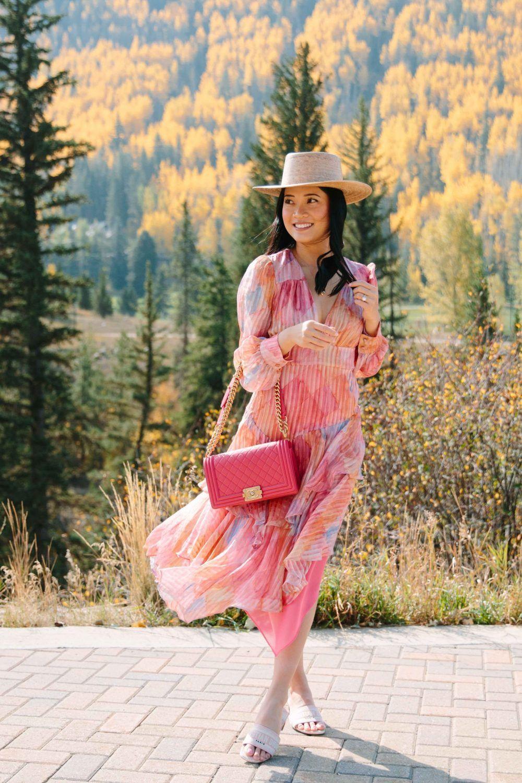 LoveShackFancy Meridian Dress at Nuuly pink chanel boy bag