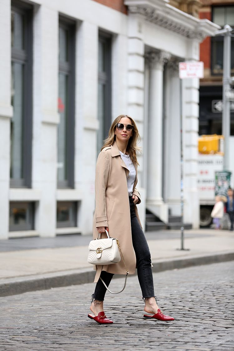 Gucci Bag, Beige Trench Coat, Gucci Red Princetown Slides, Helena of Brooklyn Blonde