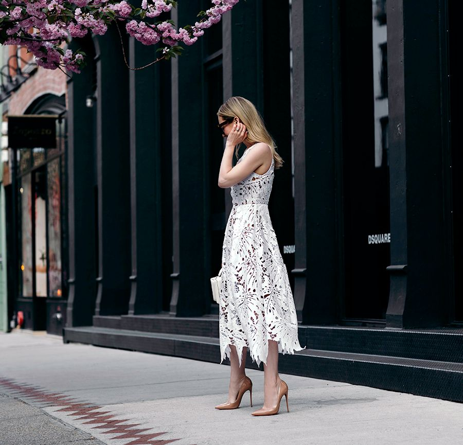 Helena from Brooklyn Blonde spring dresses, white floral lace dress, Tracy Reese lace dress, white monochrome outfit
