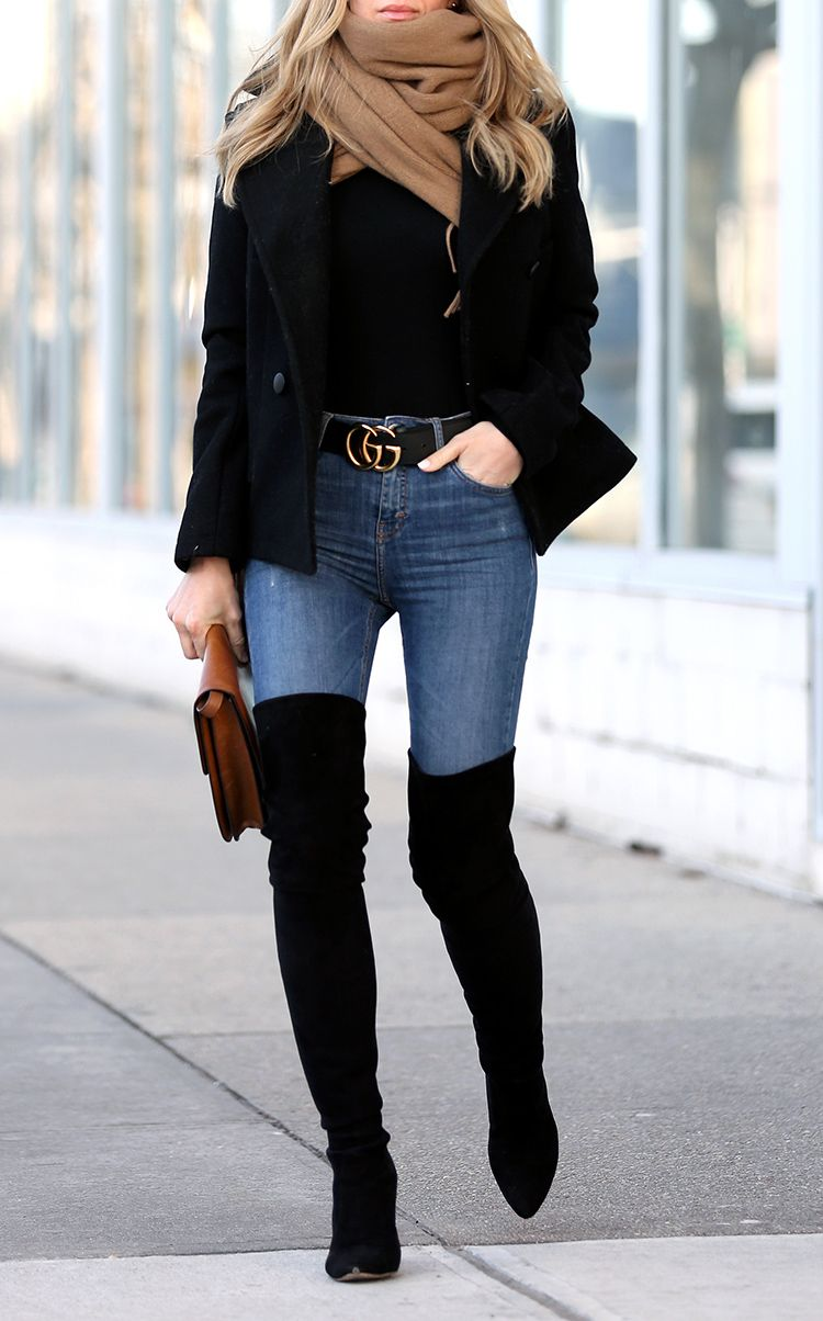 Winter Style: Stuart Weitzman All Legs Over the Knee boots and Gucci Belt