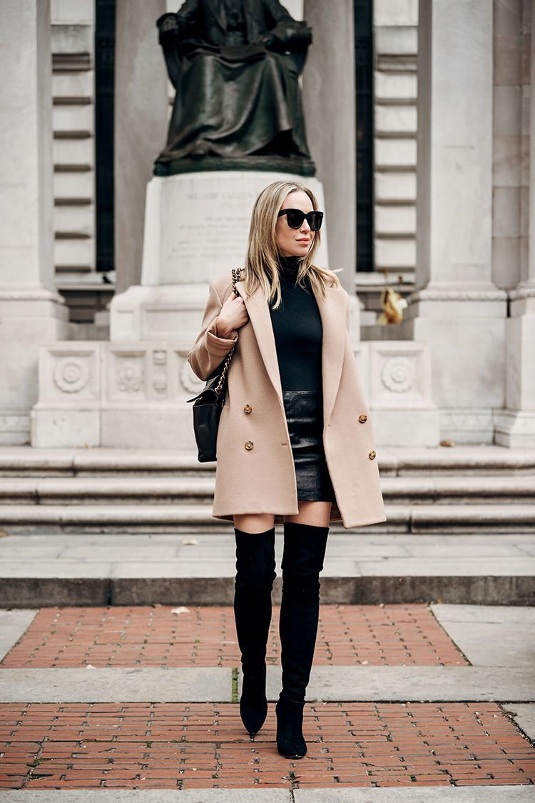 Camel Coat, Black Monochromatic, Spring Outfit, Helena of Brooklyn Blonde