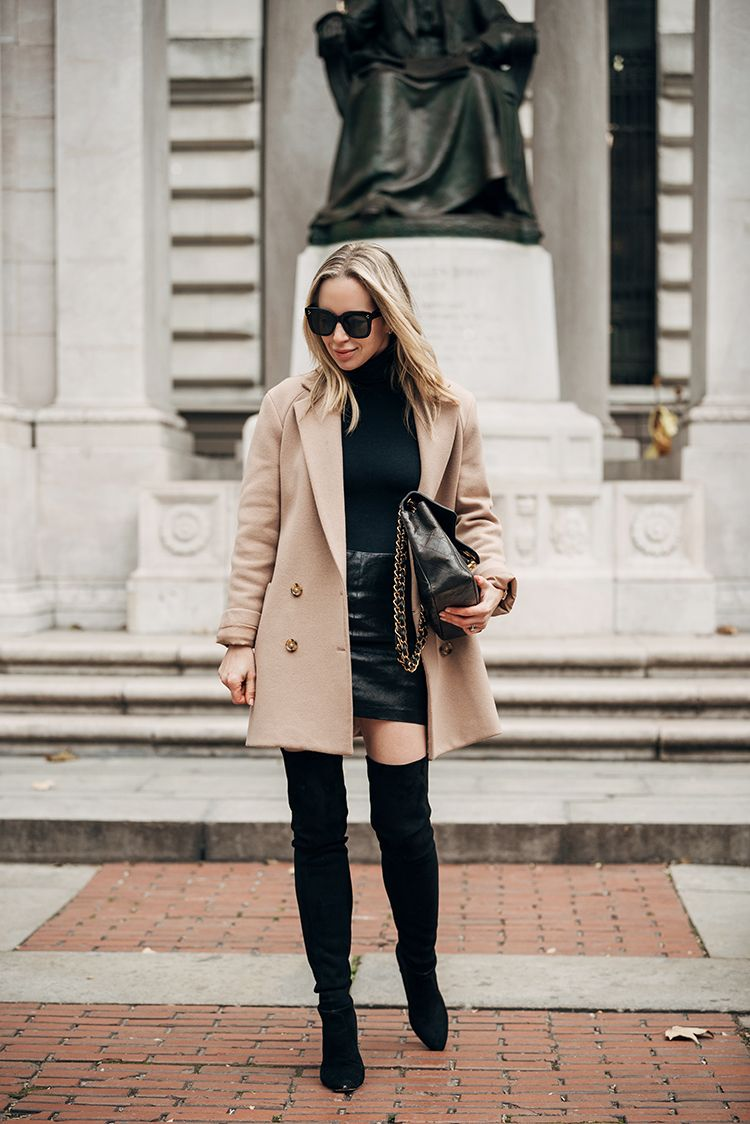 Camel Coat, Black Monochromatic, Over The Knee Boots, Spring Outfit, Helena of Brooklyn Blonde