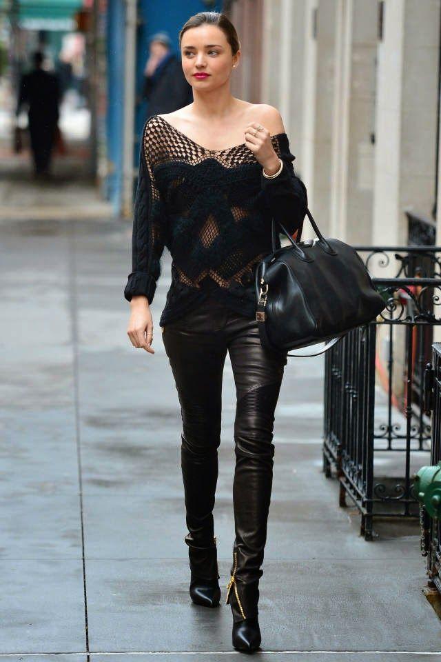 Miranda Kerr leather trousers