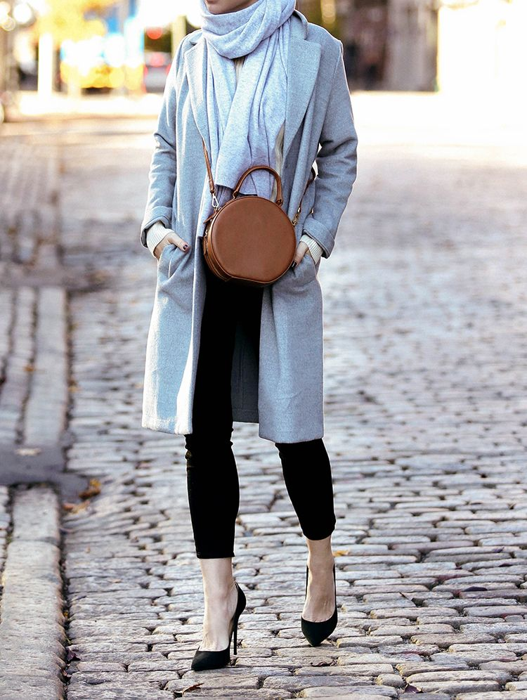 The White Company Cashmere Scarf, H&M Grey Coat, Mansur Gavriel Leather Circle Bag, Helena of Brooklyn Blonde