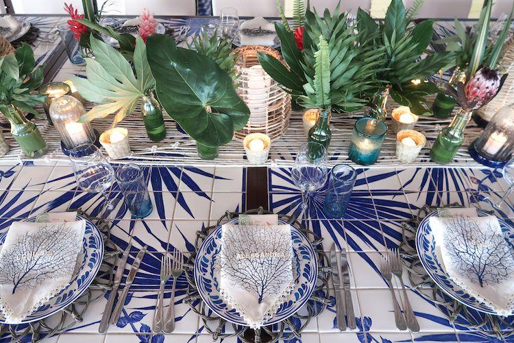 Blue Flatware, Tablescape, Aerin, Tulum, Helena of Brooklyn Blonde