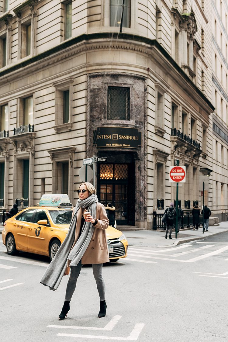 Now Arriving Cashmere Scarf, Camel Coat, Helena of Brooklyn Blonde