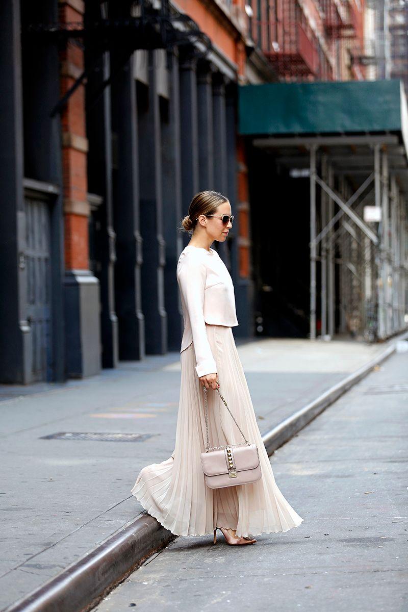 Monochromatic Blush Outfit, Zara Pleated Maxi Skirt, All Saints Blush Leather Jacket, Helena of Brooklyn Blonde