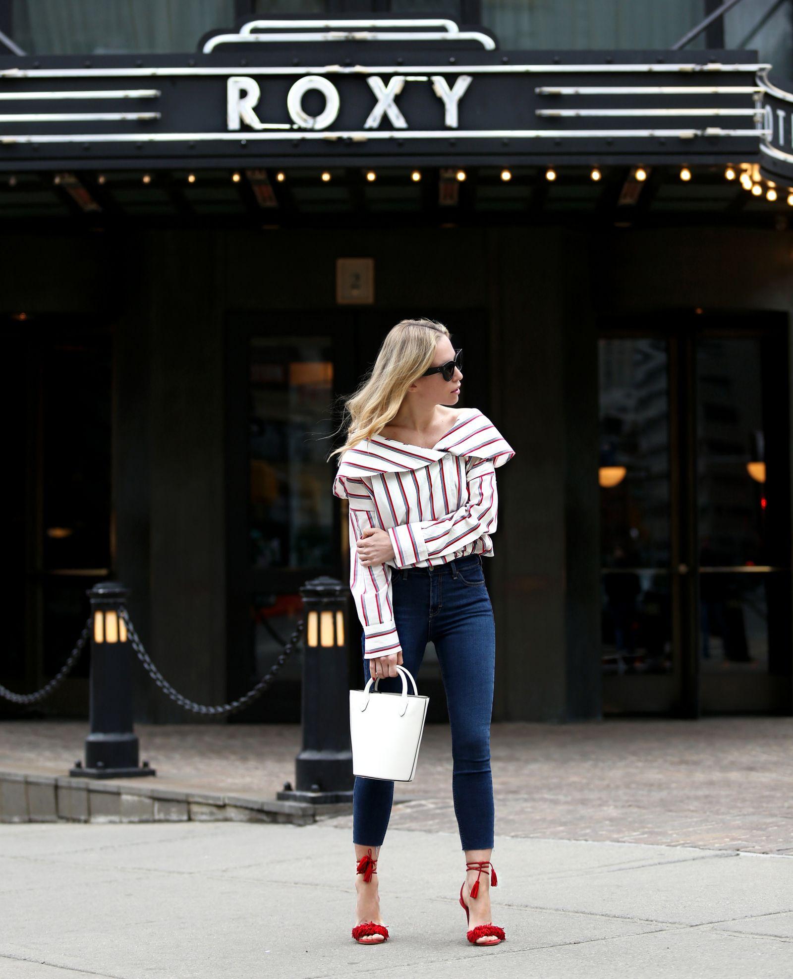 Roxy Hotel NYC Staycation - Helena Glazer of Brooklyn Blonde wearing Storets top with Topshop denim, red Aquazzura Wild Things heels, Celine sunglasses
