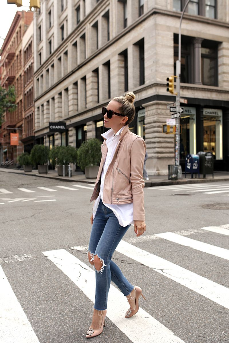 All Saints Leather Jacket, 721 High Rise Levi's, Helena of Brooklyn Blonde