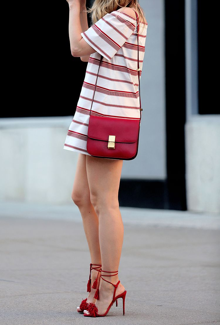 Red and White Striped Dress, Red Bag, Aquazurra Red Fringe Sandals, Helena of Brooklyn Blonde