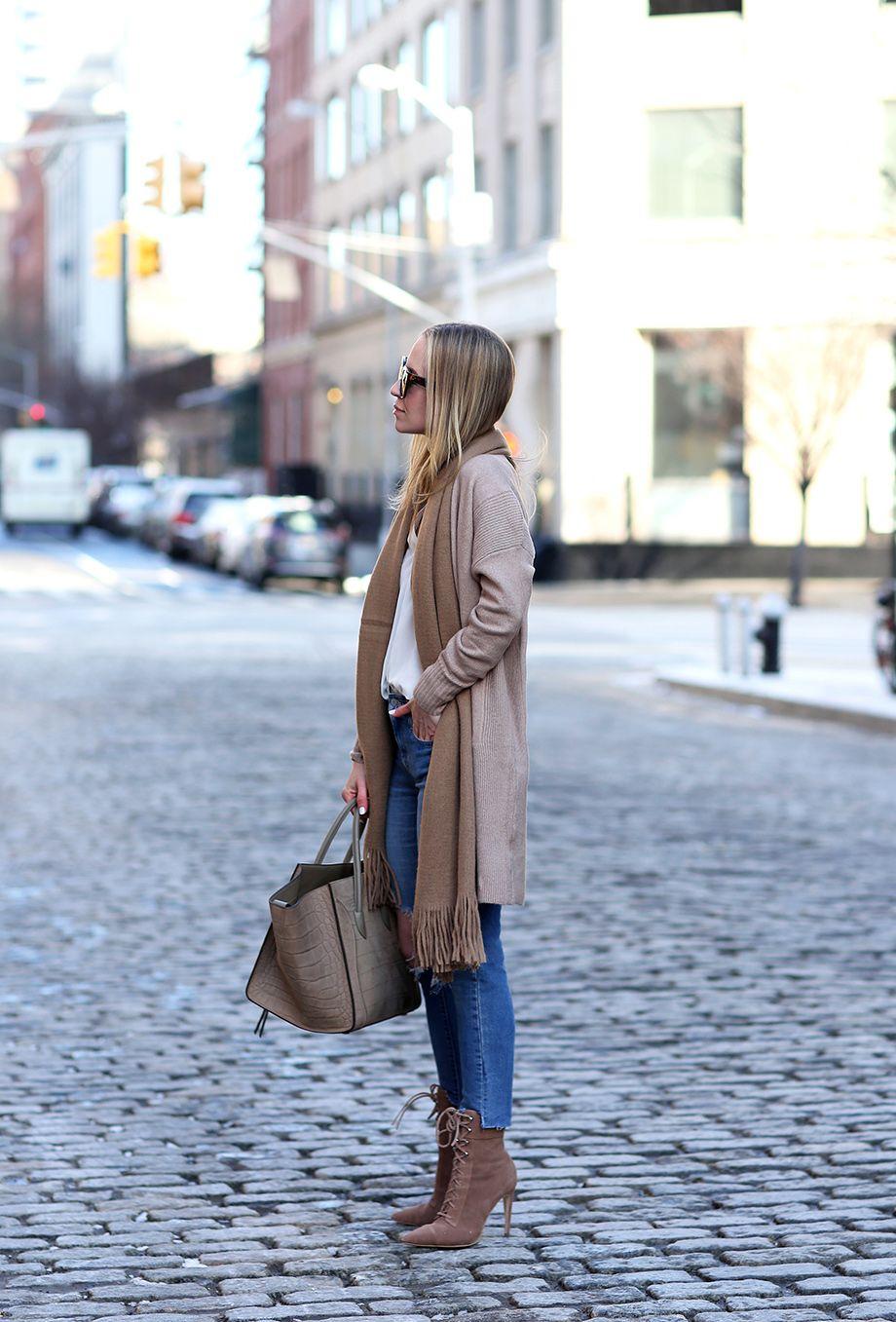 Camel Scarf, Celine Phantom Bag, Neutral Outfit | Closet Essentials: Camel Scarves