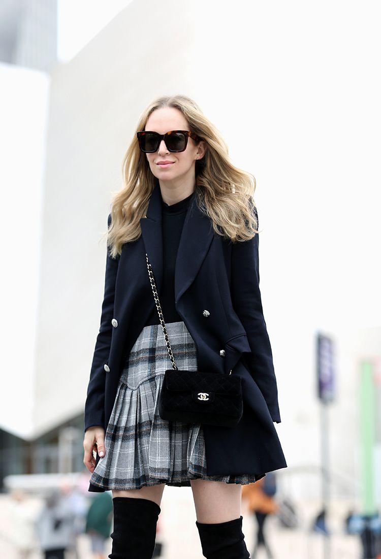 Helena Glazer of Brooklyn Blonde wearing Zara jacket, Only Hearts bodysuit, ASOS skirt, Stuart Weitzman over the knee boots, Celine sunglasses, Chanel bag