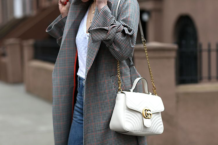 Topshop Belted Check Trench Coat, Gucci White Bag, Helena of Brooklyn Blonde