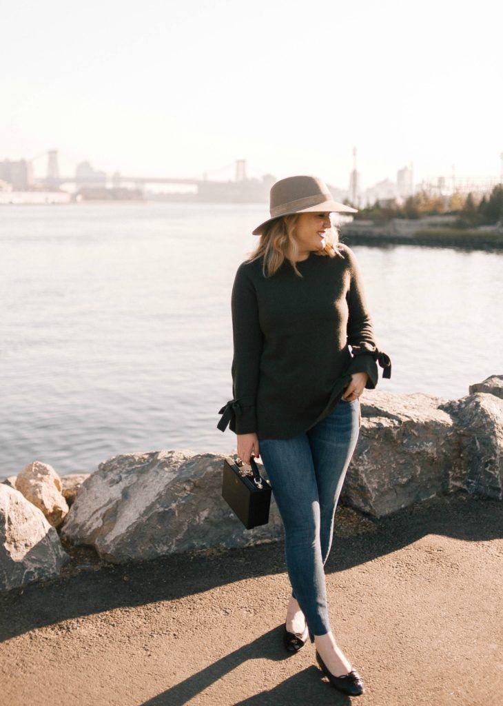 Meghan Donovan of wit & whimsy wears Ann Taylor Sweater; Rag & Bone Hat