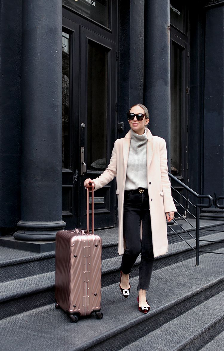 Travel Outfit, Tumi Rose Gold Luggage, Helena of Brooklyn Blonde