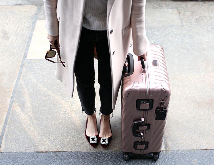 Tumi Rose Gold Aluminum Luggage, Helena of Brooklyn Blonde