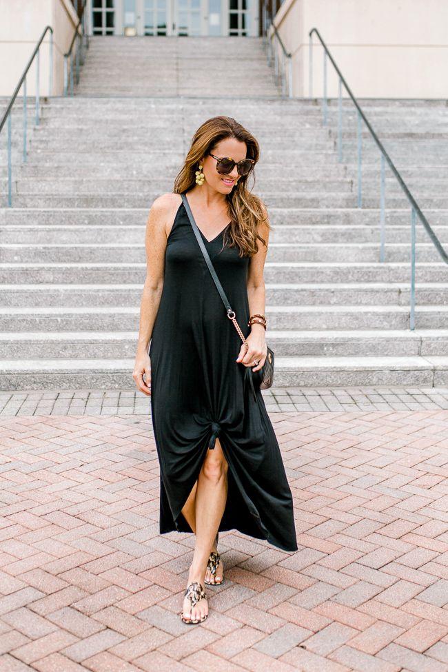 How to wear a black maxi dress for Summer via Peaches In A Pod blog.