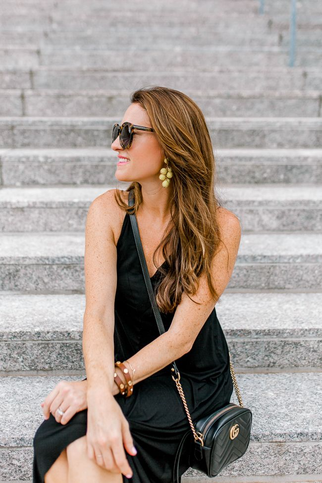 Gucci Marmont Crossbody bag styled for Summer via Peaches In A Pod blog.