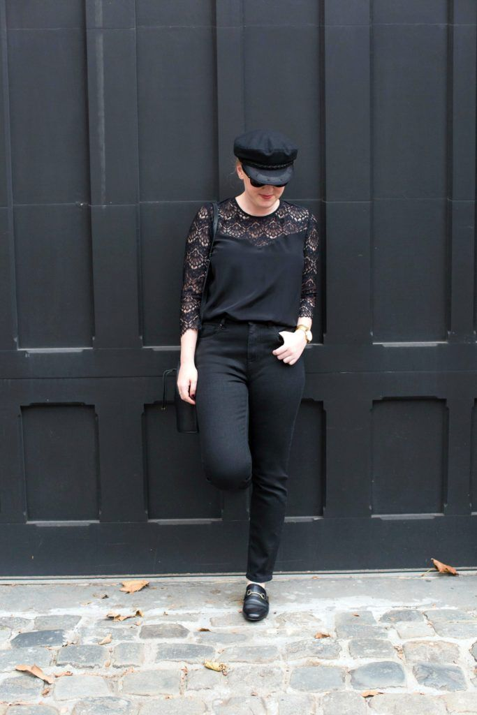 Sezane Black Lace Top on wit & whimsy