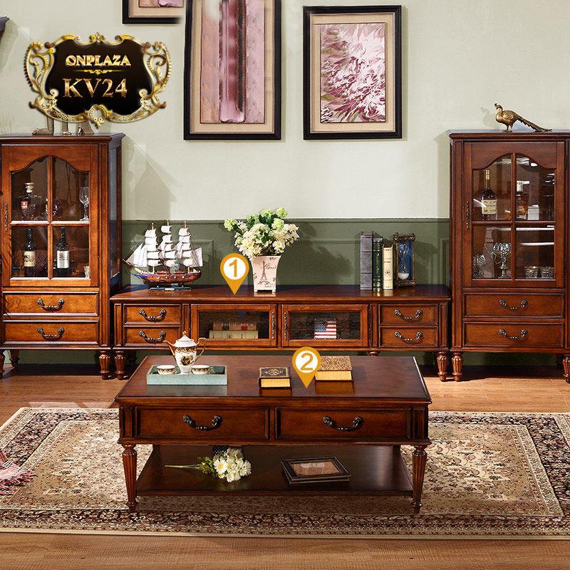 Bộ bàn trà+kệ tivi bằng gỗ bạch dương nhập khẩu cao cấp KV24