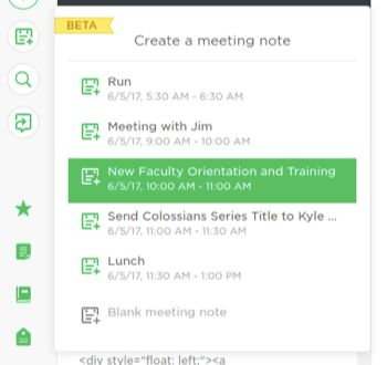 Meeting Notes (Beta, Evernote Web only) | theFAQs