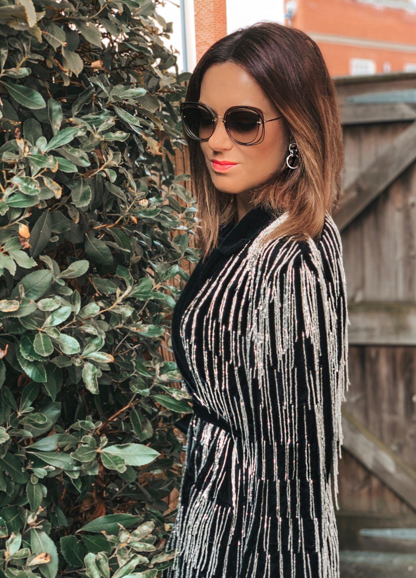 ASOS EDITION velvet beaded fringe blazer | Swarovski MERRY PIERCED EARRING JACKETS | BOSS Black Jeans | Miu Miu sunglasses