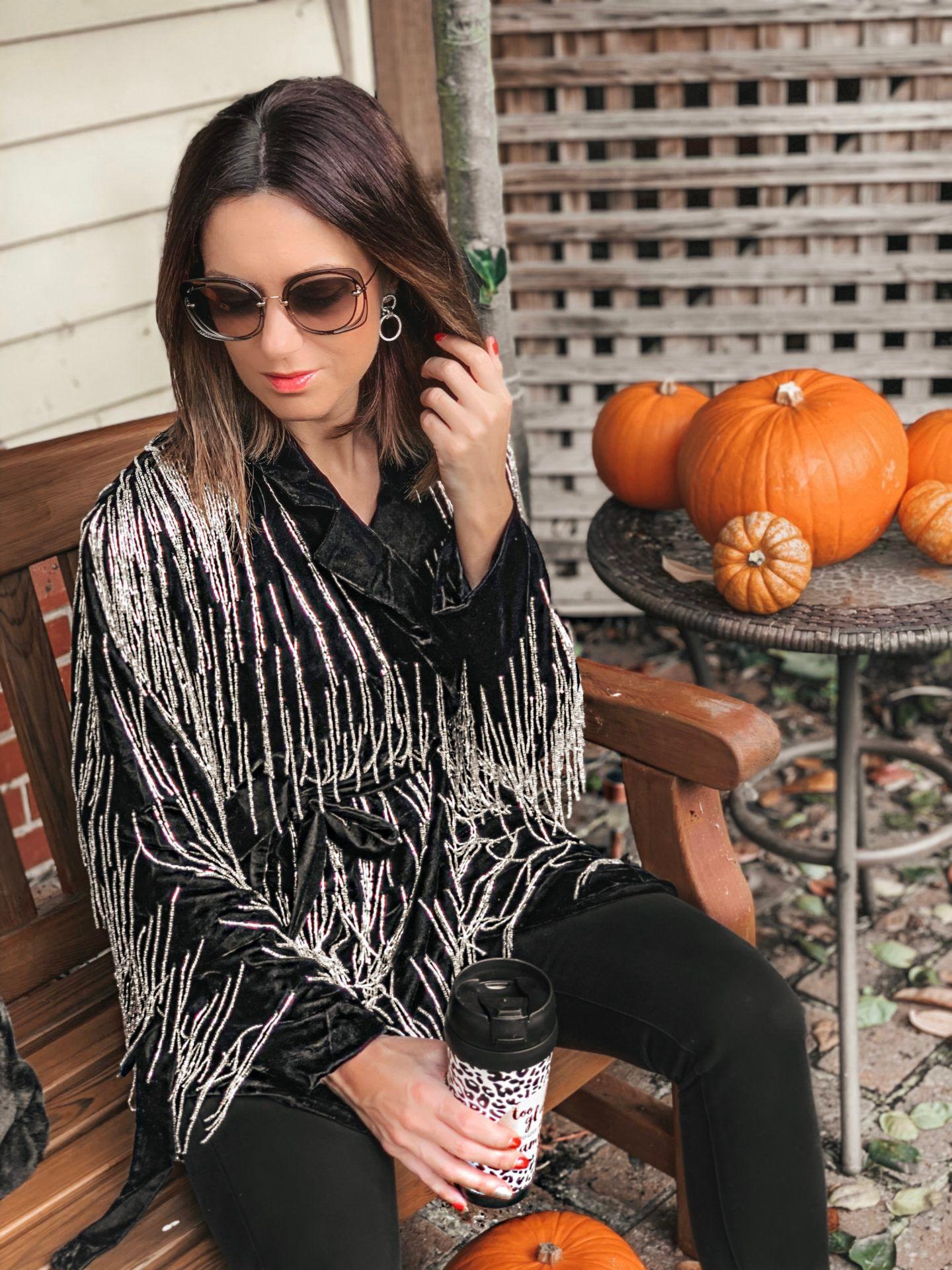 ASOS EDITION velvet beaded fringe blazer | Swarovski MERRY PIERCED EARRING JACKETS | BOSS Black Jeans