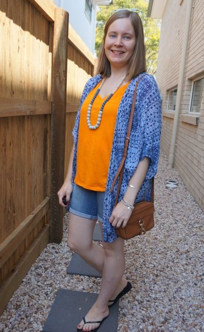 navy printed kimono with bermuda denim shorts orange tee Rebecca Minkoff MAB camera bag | away from blue