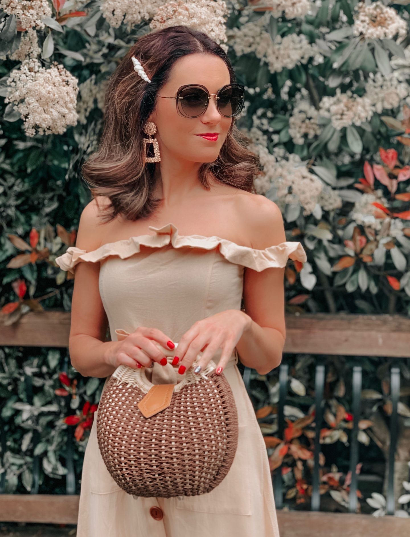 OUTFIT FROM ELEGANT DUCHESS BOUTIQUE Round Summer Beach Straw Bag | Off shoulder ruffle detail midi dress | TEXTURED GEOMETRIC EARRINGS | Pearl Hair Clip | MIU MIU SUNGLASSES | NEXT Plait Detail Espadrille Wedges