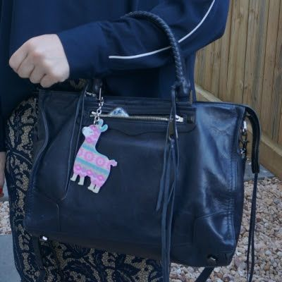 Rebecca Minkoff Regan Satchel Tote in moon with lace skirt Llama bag charm   away from the blue