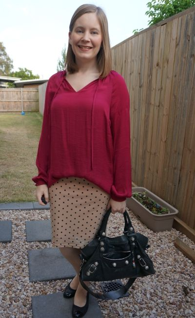 berry jeanswest frankie blouson sleeve blouse with blush pastel pink polka dot pencil skirt   awayfromblue