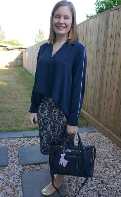 monochrome lace pencil skirt navy target blouse business casual office outfit gold accessories   away from blue