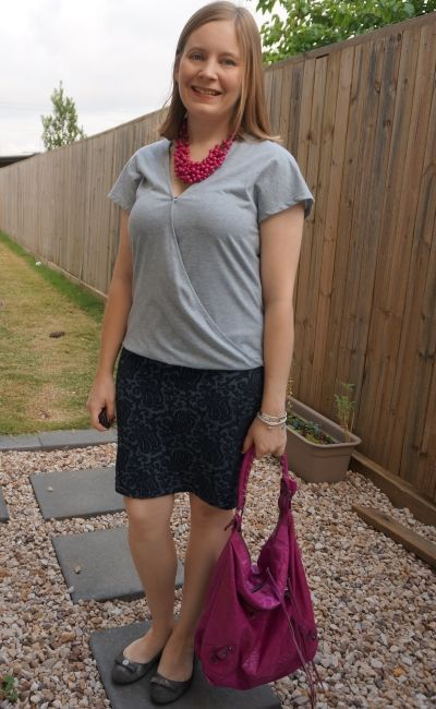 grey jersey wrap tee with jacquard navy pencil skirt and pink accessories | away from blue